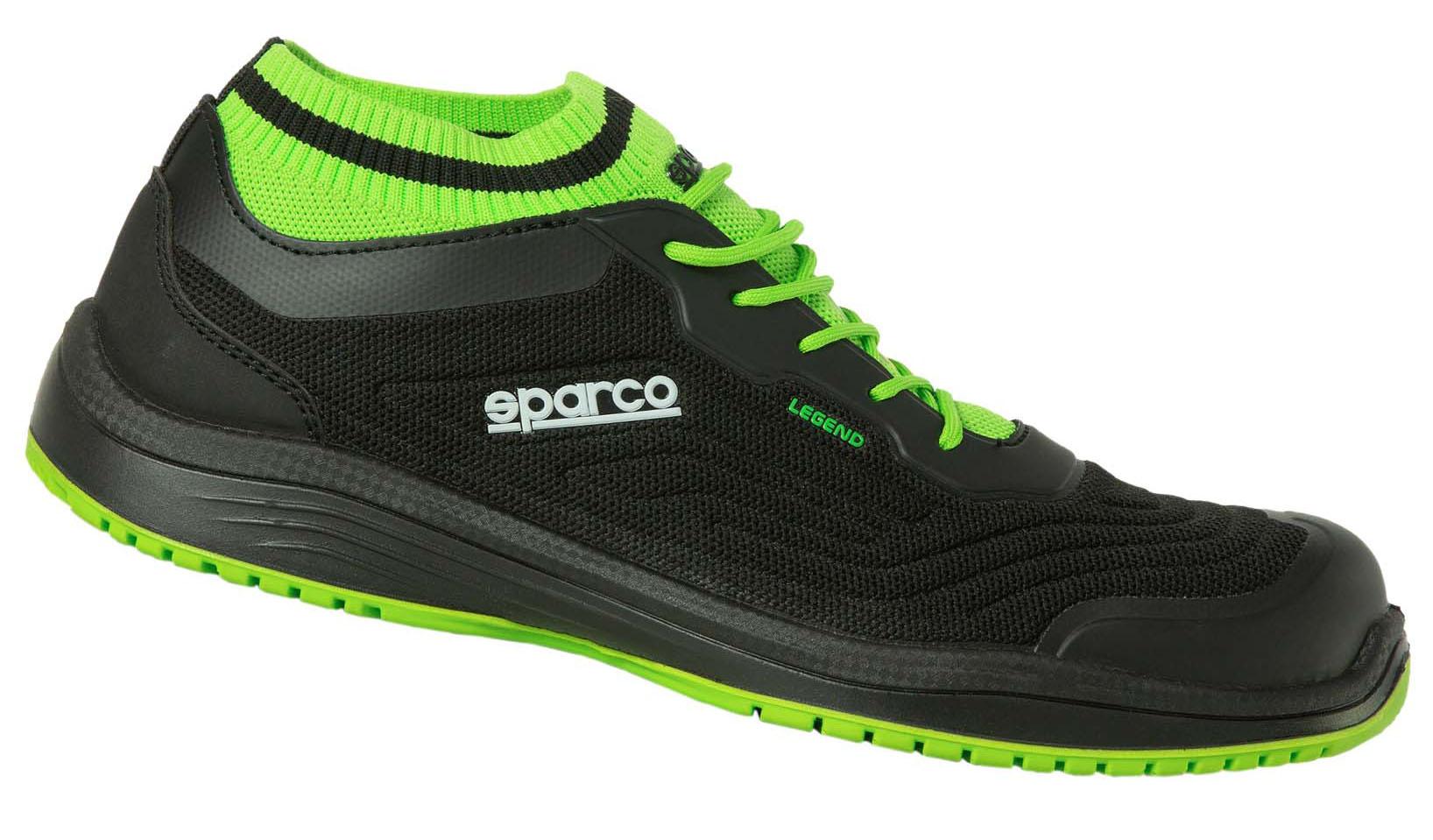 "Sparco-Halbschuh ""LEGEND"" black-green, S1P ESD 45"