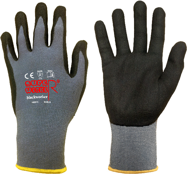 """SUPERWORKER Feinstrick-Handschuh """"BLACKWORKER-PREMIUM"""" 7"""